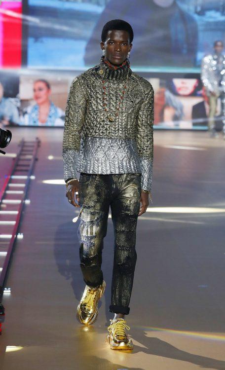 Toni Engonga walks for Dolce&Gabbana at Milan Fashion Week 1
