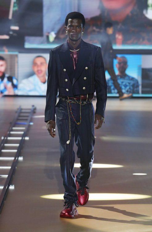 Toni Engonga walks for Dolce&Gabbana at Milan Fashion Week 2